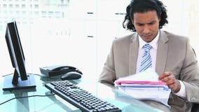 Latin businessman overworked stock video footage