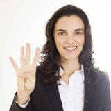 Woman showing number four Stock Image