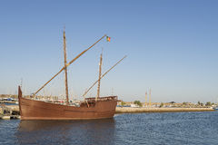 Latin Caravel. From the Portuguese discoveries, moored in an atlantic ocean port in the south of Portugal Stock Photography