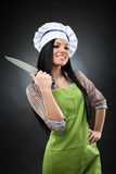 Latin chef woman with knife Stock Photo