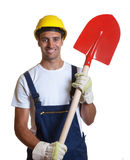 Latin construction worker with shovel Stock Photo