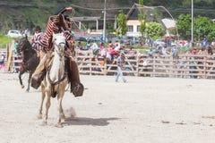Young Courageous Cowboy. Banos, Ecuador - 30 November 2014: Young Courageous Cowboy Riding A Horse And Throwing A Lasso, South America In Banos On November 30 Stock Images