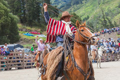 Indigenous Cowboy Riding Horse Stock Image