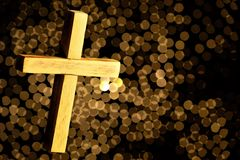 The Latin cross, a religious attribute, a geometric shape. In many beliefs bears sacral sense. The cross expresses the unity of. Opposites and the connection royalty free stock image