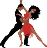 Latin dance. Sexy Latino couple dancing, vector illustration, isolated on white Stock Photo
