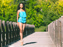 Latin dancer on the tip of her ballet slippers stock photos