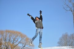 Latin Teenager Enjoying the Winter Royalty Free Stock Photography