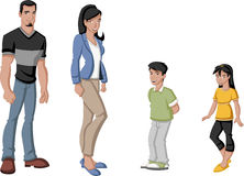 Latin family. Happy cartoon latin family. Spanish people Royalty Free Stock Photography