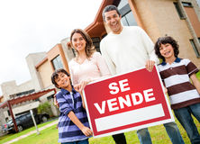 Latin family selling their house Stock Images