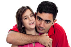 Latin father and daughter hugging Royalty Free Stock Photography
