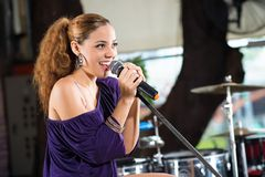 Latin female singer. Portrait of Latin female singer royalty free stock images