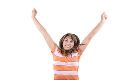 Latin girl cheering with arms up Royalty Free Stock Photos