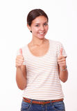 Latin girl with great job gesture Stock Photography