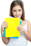 Latin girl holding books isolated on wh Stock Photography