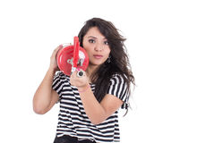 Latin girl holding fire extinguisher Royalty Free Stock Images
