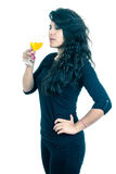 Latin girl holding a glass of wine Stock Photo