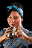 Latin girl. With polaroid camera in black background Stock Photo