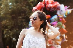 Latin girl portrait, female teenager outdoor in summer in a colonial city in Mexico royalty free stock image