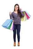 Latin girl on shopping spree Stock Photo