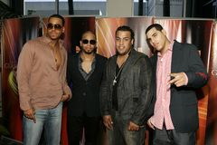 Latin Grammy Celebra Nuestra Musica. Aventura arrives on the red carpet for the Latin Grammy Celebra Nuestra Musica show at the Univision studios in Miami stock image