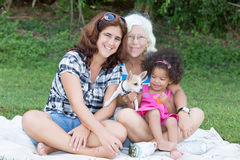 Latin Grandma, mother and daughter camping on a park Royalty Free Stock Photos
