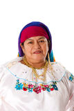 Latin Gypsy woman. Face of a beautiful senior Latin Gypsy woman from South America dressed in Folklore clothes from Ecuador, Colombia, Bolivia or Venezuela Royalty Free Stock Photography