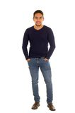 Latin handsome guy posing with hand on pockets Royalty Free Stock Photos