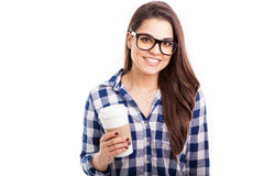 Latin hipster girl drinking coffee Stock Photography