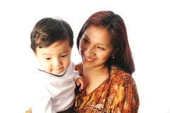 latin hispanic Mother and son stock photo