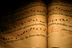 Latin Hymns. An old Christian Hymn book, normally used in choirs with musical notes and written in Latin Royalty Free Stock Photography