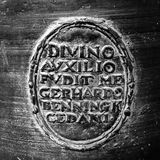 Latin inscription on old church bell Royalty Free Stock Images