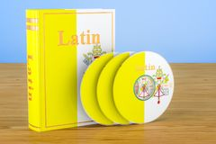 Latin language textbook with CD discs on the wooden table. 3D re. Latin language textbook with CD discs on the wooden table. 3D Royalty Free Stock Photos