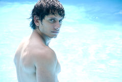 Latin male model at the swimming pool Stock Image