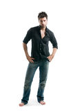 Latin man full length. Stylish young latin man posing full length and looking at camera isolated on white background Stock Photography
