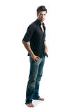 Latin man full length. Stylish young latin man posing full length and looking at camera isolated on white background royalty free stock image
