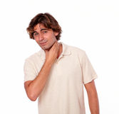 Latin man having a pain in his throat Royalty Free Stock Photo