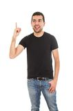 Latin man pointing up with finger Stock Photo