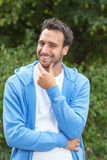 Latin man smiling after workout Stock Photos