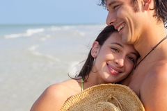 Latin Man and Woman on Beach Royalty Free Stock Photography