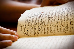Latin manuscript Stock Photo