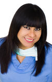 Latin medic woman smiling. Isolated over white Royalty Free Stock Photos