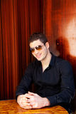 Latin mediterranean handsome man with sunglasses Royalty Free Stock Photos