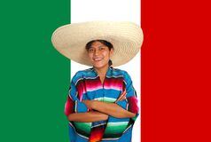 Latin mexican hispanic sombrero poncho woman Royalty Free Stock Image