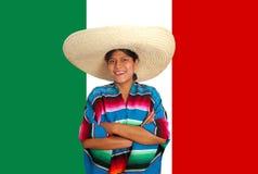 Latin mexican hispanic sombrero poncho woman. Over Mexico flag royalty free stock image