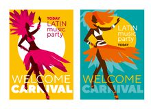 Latin  music carnival poster. Tropical color sketch-style rumba girl for party poster, invitation, cover. Stock vector illustration Stock Photo