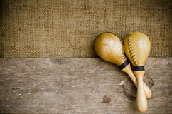 Latin percussion. Percussion on sackcloth and old wood stock photo Royalty Free Stock Image