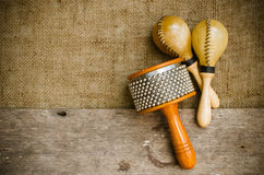 Latin percussion. Percussion on sackcloth and old wood stock photo Royalty Free Stock Photography