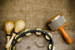 Latin percussion. Percussion on sackcloth and old wood stock photo royalty free stock photo