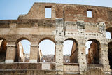 Latin Plaque on Coliseum Stock Images