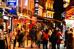 Latin Quarter of Paris by night Royalty Free Stock Photography